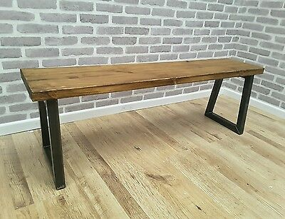 Rustic Industrial Metal Reclaimed Wood Bench 160cm - made to order