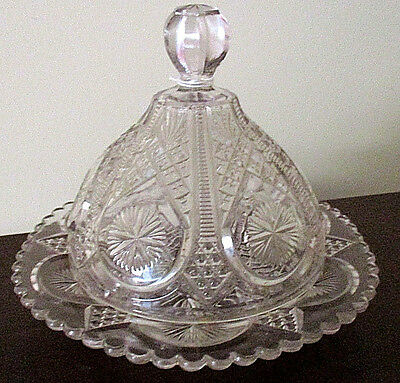 Highly Decorated, Star & Diamond Glass Butter Or Cheese Dish W/dome Lid