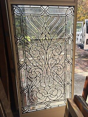 An 3 The Most Amazing Zipper Cut Beveled Glass Window Available For Sale