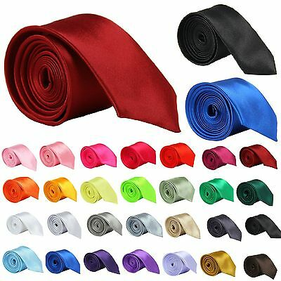 Classic Mens Slim Skinny Wedding Solid Plain Satin Tie Necktie color
