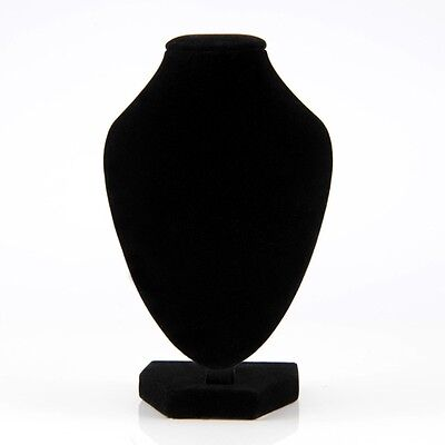 Black Velvet Necklace Pendant Chain Link Jewelry Bust Neck Display Holder Stand