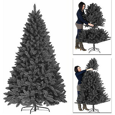 Premium 5ft,6ft,7ft Black Artificial Christmas Tree Pine Metal Stand Tips Spruce