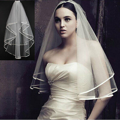 New Ivory 2T Wedding Bridal Veil Satin Edge With Comb Elbow Elegant Cathedral UK