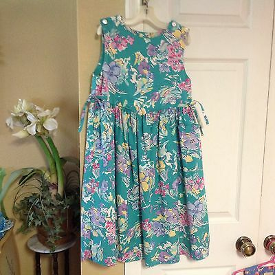 Laura Ashley Mother & Child Great Britain Green Floral Cotton Dress7-8 Yrs Cute!