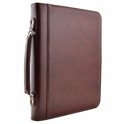 Zippered Executive 3 Ring Binder Portfolio with Built In Calculator, Carrying