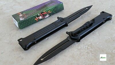 "NEW 8"" Joker Spring Assisted Open Tactical Knife Black Combat Blade Stiletto"