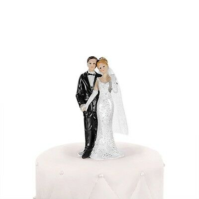 Newlyweds Bride and Groom Holding Hands  - Bride & Groom Wedding Cake Topper