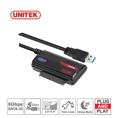 "UNITEK USB 3.0 To 2.5""/3.5"" SATA HDD SSD External Converter Cable +Power Adapter"