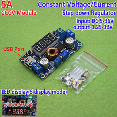 Display LED 5A CCCV Constant Stromspannung Adjustable Buck Module Board Meter