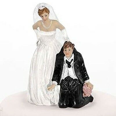 Bride with Groom on His Knees Comical Wedding Cake Topper