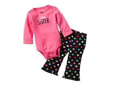 "*ON SALE*""Carter's"" 2-Piece Cotton- Little sister long sleeves bodysuits set"