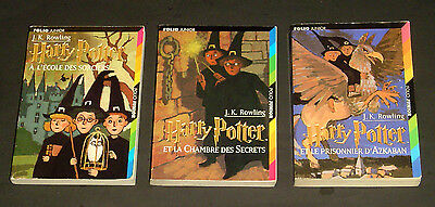 Lot - 3 French Harry Potter Books - # 1 - 3 Complete J.K. Rowling Folio Junior
