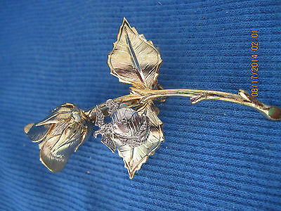 Beautiful Gold & Silver Art Deco Rose W/ Eagle & World Emblem Pin ..7069