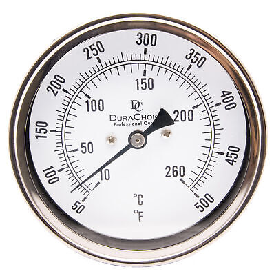 "Industrial Bimetal Thermometer 5"" Face x 9"" Stem, 50-500 w/Calibration Dial"