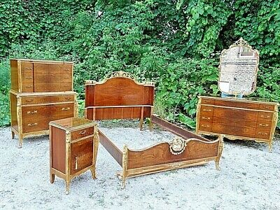 French Provincial Antique Burl walnut wood carved Ornate 6 piece bedroom set