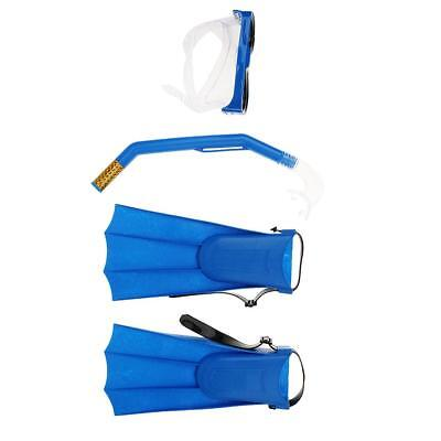 Snorkel Mask & Fin/Flippers Scuba Swimming Diving Snorkelling Adult Set Blue