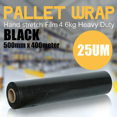1 Roll Black Stretch Film Pallet packaging Wrap 500mm x 400m 25UM G.W 5KG