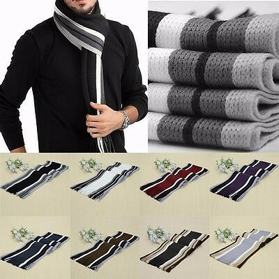 New Men Classic Cashmere Shawl Winter Warm Fringe Stripe Tassel Long Soft Scarf