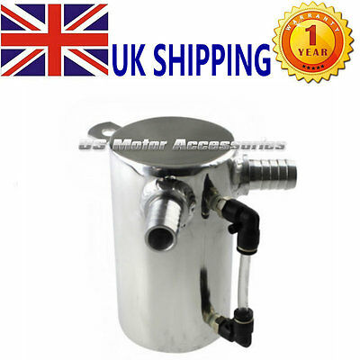 """0.5L Polished 19Mm 3/4"""" Barb Aluminium Oil Catch Can Breather Tank Reservoir Hot"""