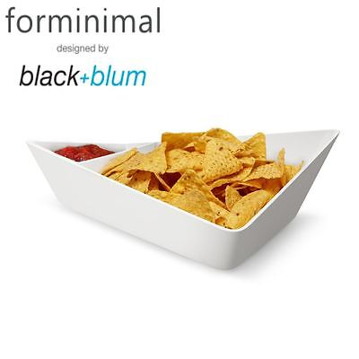 Black and Blum Forminimal Chip + Dip and Nibble Serving Bowl, White