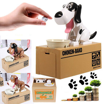 Lovely Dog Puppy Stealing Coin Money Penny Cents Piggy Bank Saving Box Kids Gift