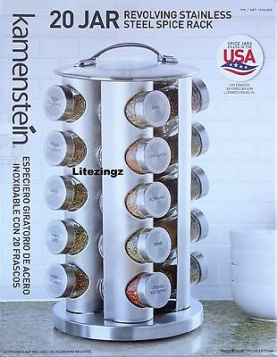NEW - Kamenstein Stainless Steel Revolving Spice Rack with 20 Spices in Jars