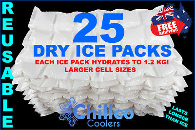 25 X Sheets Dry Gel Ice Packs - Reusable - Hydrates To 1.2 Kg - Dry Ice Packs