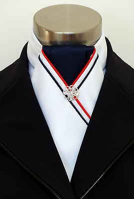 "ERA ""Marlo"" White Satin Stock Tie - Navy Centre + Red & Navy Piping Silver Pin"