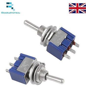 Miniature Toggle Switch 3 Pin ON/OFF/ON SPDT 6A 125VAC/3A 250VAC Free Postage