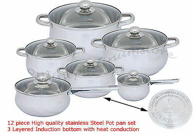 12 Pc High Quality stainless Steel Cookware Pot & Pan Set Induction Safe Kitchen