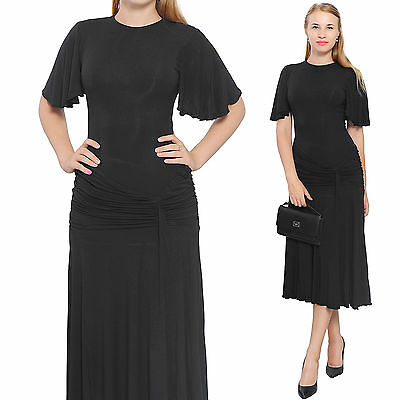 225c7282496 Black Women Drop Waist Midi Dress Elegant Lady Vintage Retro Swing 1920S  Dresses