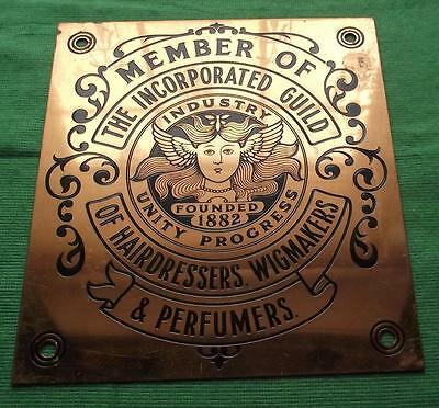 "Genuine Copper Vintage Sign Plaque Hairdressers Wigmakers Perfumers 8.25"" X 9.25"