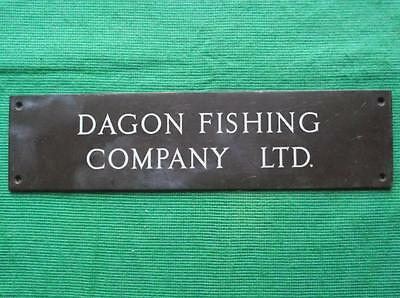 "Genuine Brass Vintage Sign Plaque : Dagon Fishing Company Grimsby 10"" X 2.5"""