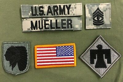 6 US ARMY patch Set ACU Uniform 45th ID UCP AT Digital FSGT MUELLER USA Flagge