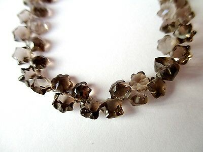 Smoky Quartz carved STAR briolette- 5mm- 32 stones