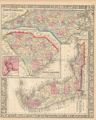 Florida South Carolina Antique Map Mitchell 1865 Original