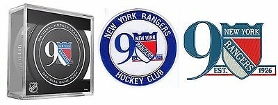 New York Rangers 90Th Anniversary Puck & Two Patch Set Hockey Club Stanley Cup