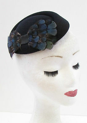 Black Navy Blue Lady Amherst Pheasant Feather Pillbox Hat Fascinator Hair 824