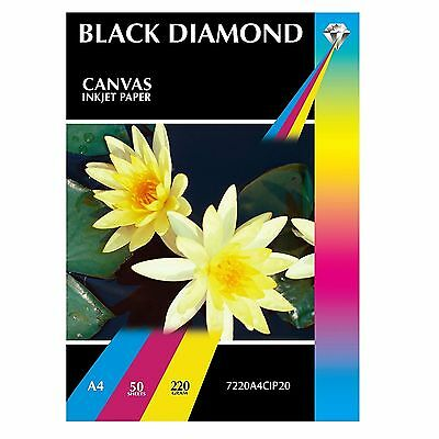 Black Diamond 220 gsm A3/A4 Matt Canvas Inkjet Photo Paper - 20/50/100 Sheets