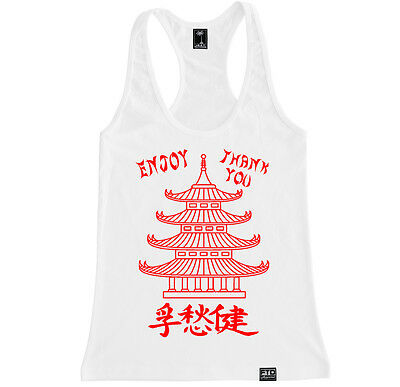 Chinese Take Out Funny Humor Food Party Comedy Costume Women Racerback Tanktop