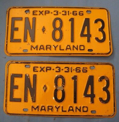 1966 Maryland License Plates Matched Pair