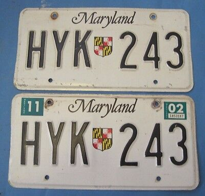 2002 Maryland License Plates matched pair