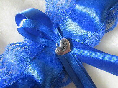 Royal Blue Wedding Garter, Blue Lace Royal Blue Ribbon with Bride Charm.