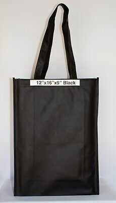 10 BLACK SHOPPING BAGS ECO FRIENDLY REUSABLE RECYCLABLE GIFT PROMO BAG 12x16x5.