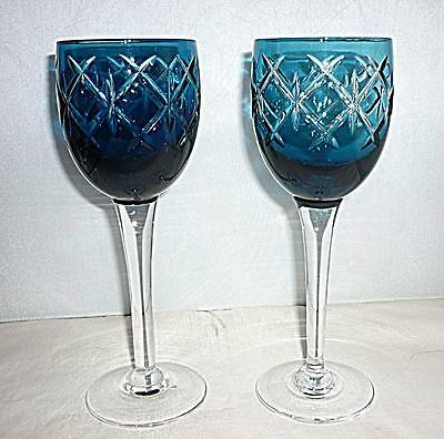 2 STUNNING UNUSUAL VINTAGE RETRO STYLE BLUE WINE GLASSES GOBLETS 19cm HIGH