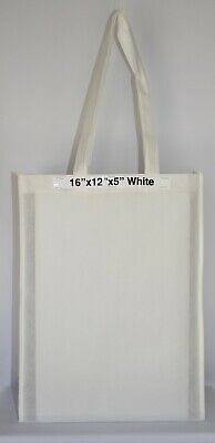 10 White Shopping Bags Eco Friendly Reusable Recyclable Gift & Promo Bag Medium