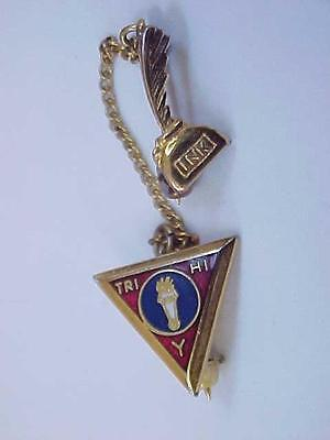 Vintage 1960'S  YMCA Tri Hi Y Award Pin & Chain With Ink Well & Quill Gold Tone
