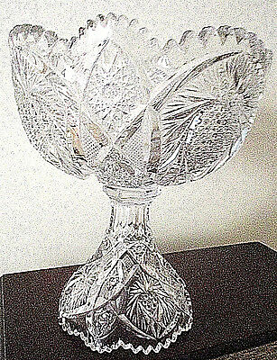 Cut Pressed,very Heavy, Highly Decorated Glass, Footed Fruit Bowl Signed Uncut
