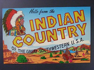 Hello From Indian Country Great Southwestern USA Vintage Color Postcard 1950s