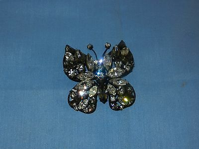 Beautiful Vintage Regency Butterfly Brooch Clear Rhinestones Black Metal